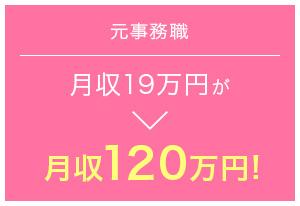 元事務職 月収19万円が→月収120万円!